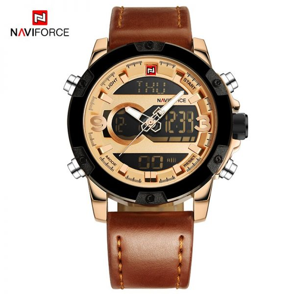 NAVIFORCE Mens Watches Leather Waterproof LED Digital Chronograph Sport Military Quartz Wrist watch Clock Male Relogio Masculino