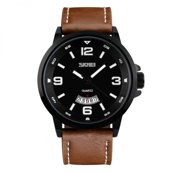 SKMEI 2020 Top Reloj Men Quartz Watch Large Dial Military Leather Band Sport Watches Wristwatches Clock Relogio Masculino 9115