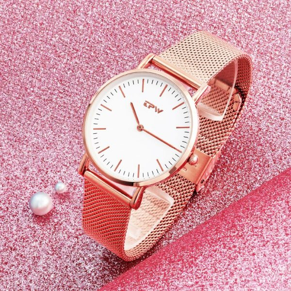 Ultra Thin Big Dial Women Watch Stainless Steel Strap 3ATM Watch Luxury Classic Daily Casual Watch For Lady