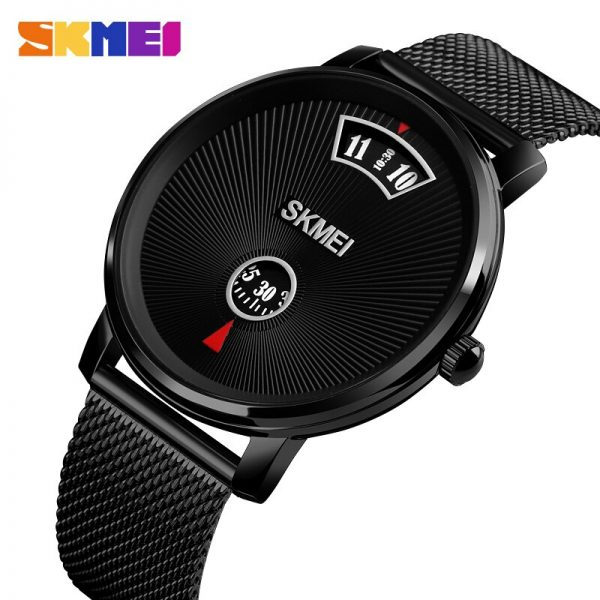 SKMEI Japan Quartz Movement Black Color Casual Male Watches Personality No Hands Waterproof Wristwatch Relogio Masculino 1490