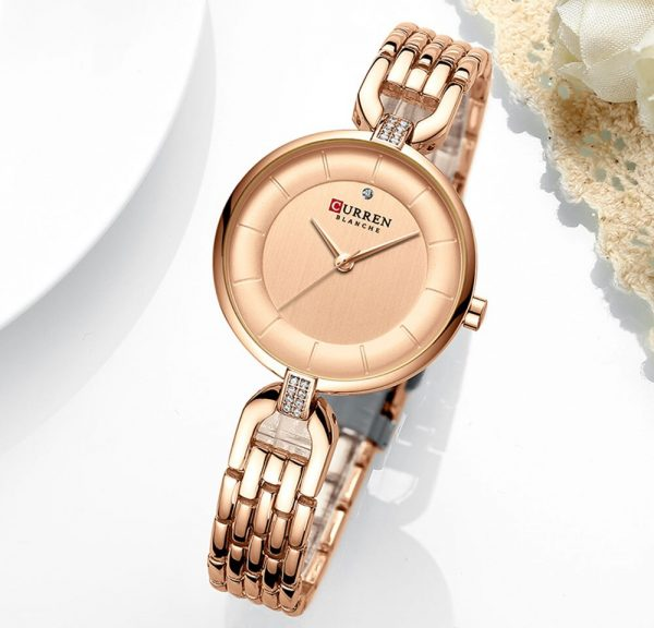 New CURREN Women Watch Luxury Brand Fashion Casual Ladies Quartz Wristwatch Rose Gold Stainless Steel Mesh Dress Clock For Girl