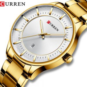 New CURREN Gold Wristwatch Mens Thin Minimalist Watch Men Clock Men Watches Top Brand Luxury Men's Watch Analog With Metal Strap