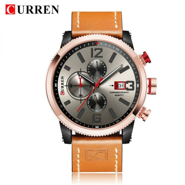 CURREN 8281 Mens Watches Waterproof Top Brand Luxury Chronograph Date Fashion Casual Genuine Leather Sport Military Male Clock