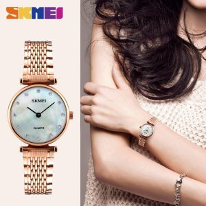 SKMEI Women Quartz Watches Luxury Stainless Steel Strap Waterproof Female Wristwatch Clock Ladies Watch Relogio Feminino 1223
