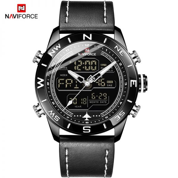 NAVIFORCE 9144 Fashion Bule Men Sport Watches Mens LED Analog Digital Watch Army Military Leather Quartz Watch Relogio Masculino