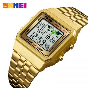 SKMEI Luxury Men's Wristwatch Gold Golden Digital Watches Stainless Steel Top Brand Relogio Masculino Saatler Male Clock 1338