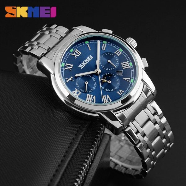 2020 SKMEI Mens Watches Casual Quartz Wristwatches Top Brand Luxury Stainless Steel Waterproof Relogio Masculino Male Clock 9121