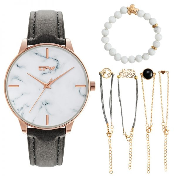 Marble Lady Wristwatch Big Dial Women Watches Casual Stylish Female Gift Set Light Luxury