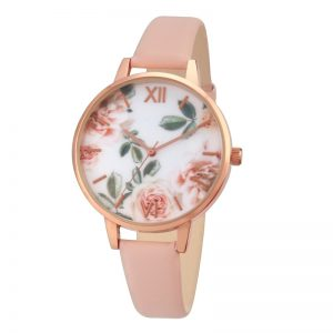 Rose Flower Dial Women Watch Gift for Ladies Pink Strap Fashion Design Wedding Gift