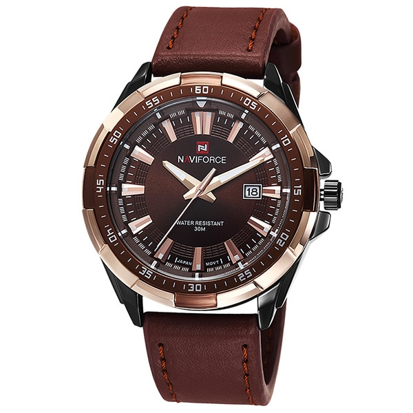 TOP Luxury Brand Fashion Mens Watches NAVIFORCE Militray Sport Quartz Men Watch Leather Waterproof Male Wristwatches Man Clock