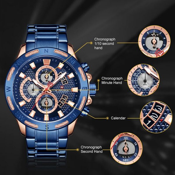 NAVIFORCE Mens Watches Top Luxury Brand Military Analog Chronograph WristWatch For Men Waterproof Quartz Clock Male Reloj Hombre