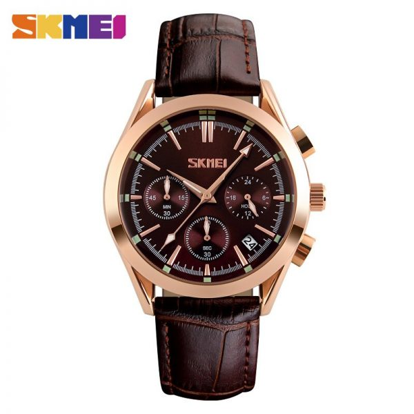 SKMEI Leather Sport Military Waterproof Men Quartz Wristwatches Simple Mens Watches Relogio Masculino 9127 Male Clock Dropship