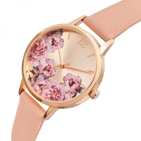 Causal Watches Women Ladies PU Leather Band Flower Pattern Round Case Quartz Wrist Watch relogio feminino zegarek damski
