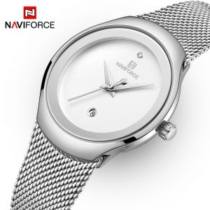 NAVIFORCE Fashion Casual Lady Watch Silver Stainless Steel Quartz Watches Women Calendar Waterproof Girl Clock Relogio Feminino