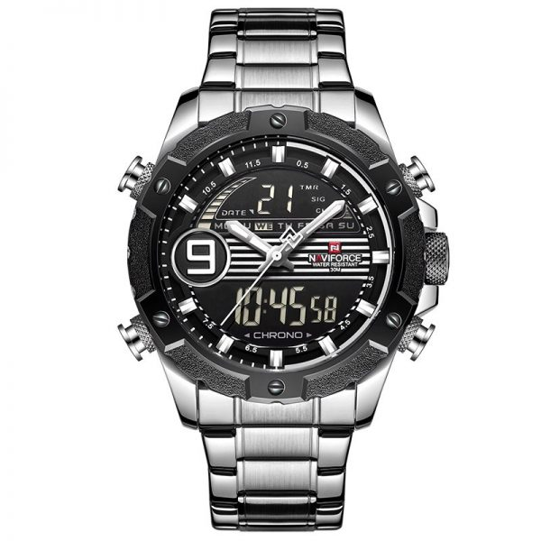 Top Luxury Brand NAVIFORCE Men Sports Watches Men's Quartz Digital Analog Clock Man Fashion Full Steel Waterproof Wrist Watch