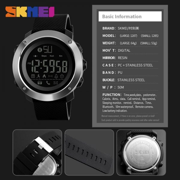 SKMEI Military 50m Waterproof men electronic Wristwatch Pedometer Sleep monitor Calendar Sports Watches 2 style Size 1285/1287
