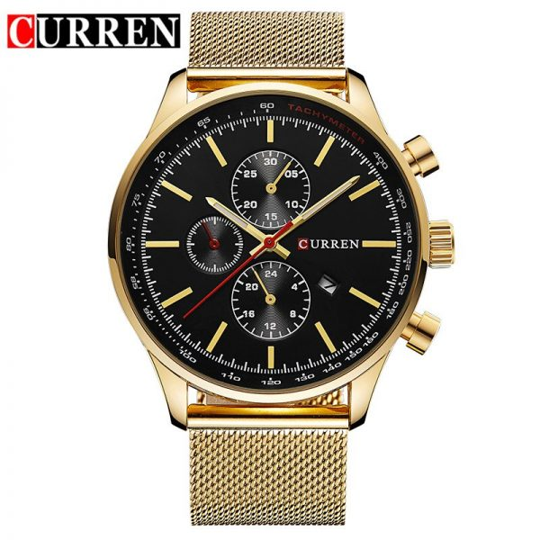 New CURREN Gold Quartz Watches Men Fashion Casual Top Brand Luxury Wrist Watches Clock Male Military Army Sport Steel Clocks