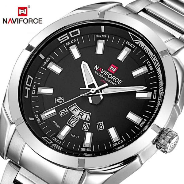 NAVIFORCE Top Brand Mens Watches Business Quartz Watch Men's Stainless Steel Band Waterproof Date Wristwatches Relogio Masculino
