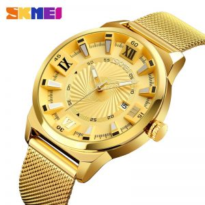 SKMEI Top Luxury Brand Men Quartz Watch Business Gold Strap Watches Male Waterproof Wristwatches Relogio Masculino 9166