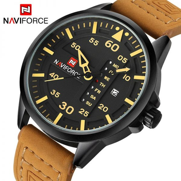 NAVIFORCE Luxury Brand Men Army Military Watches Men's Quartz Date Clock Man Leather Strap Sports Wrist Watch Relogio Masculino
