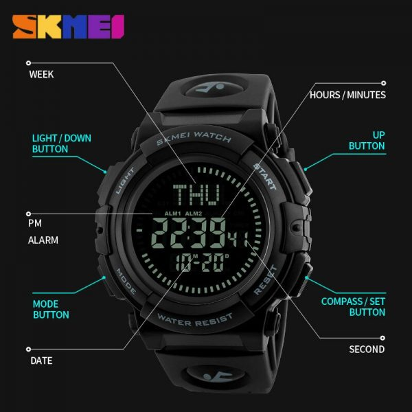 SKMEI Men Compass Watches Military Countdown Stopwatch 3 Alarm man Digital Wristwatch Relogio Masculino reloj hombre 1290