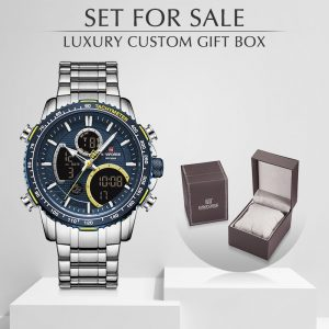 NAVIFORCE Watches Men Stainless Steel Waterproof Quartz Wristwatch Big Sports Chronograph Clock Watches Date Reloj With Box Set