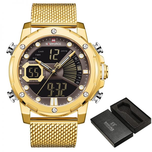NAVIFORCE Luxury Brand Gold Business Watches Mens Stainless Steel Quartz Watch Men Waterproof Sport Male Clock Relogio Masculino