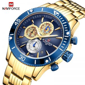NAVIFORCE Luxury Gold Watches For Men Fashion Sport Quartz WristWatch Male Date Waterproof Steel Band Military Analog Clock 2021