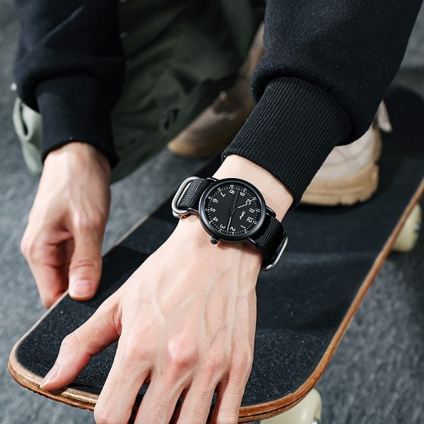 Analog Men Watches Nylon Strap Sport Style Casual Unisex Japan Movement Luminous
