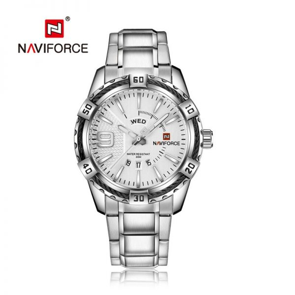 NAVIFORCE Watch Men Business Casual Date and Day Display Quartz Clock Military Sports Stainless Steel Waterproof Wristwatch Male