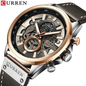 NEW Men Watches Brand CURREN Creative Fashion Chronograph Quartz Wristwatch Leather Strap Lumious Hands Waterproof Clock Gft