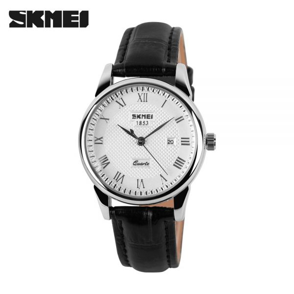 SKMEI Japan Quartz movement Men's Watches Male Clock Wristwatches Relogios Masculino 9058 Stainless Steel Leather Strap 2 style