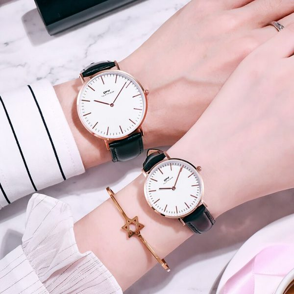 1973 Classic Men Women Analog Quartz Watch Sapphire Glass Genuine Leather Stainless Steel Case Japan Movement