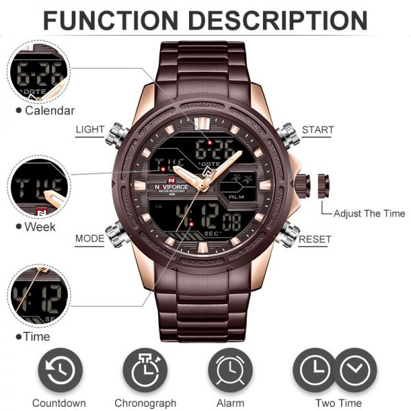 New NAVIFORCE Mens Watches Top Luxury Brand Sport Watch Men Stainless Steel Waterproof Quartz Wristwatches Digital Male Clock