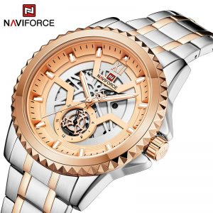 NAVIFORCE Big Brand Fashion Men's Watches Military Luxury Rose Gold Quartz WristWatch Male Steel Band Waterproof Analog Clock