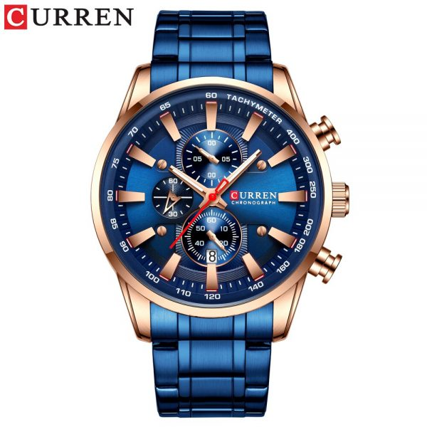 CURREN Sport Chronograph Quartz Mens Watch Stainless Steel Date Wristwatch Clock Male Luminous Fashion Watch Relogio Masculino