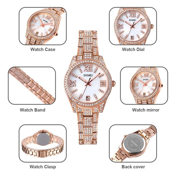 2021 SKMEI Luxury Rhinestone Dial Women Watches Japan Quartz Movement Date Female Clock Ladies Wristwatch Relogio Feminino 1741