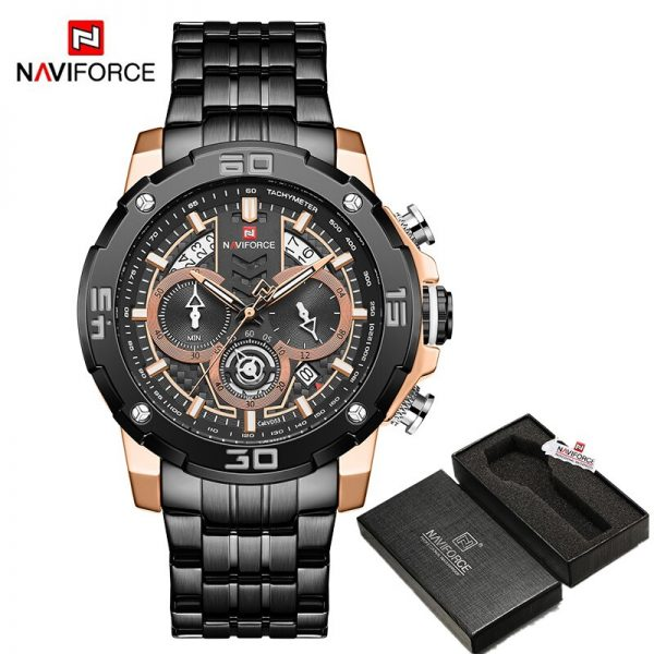Luxury Brand NAVIFORCE Men Watches Sport Chronograph Quartz Watch Man Fashion Wristwatch Stainless Steel Waterproof Analog Clock