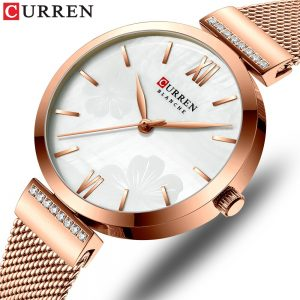 CURREN New Watches Women's Simple Fashion Quartz Watch Ladies Wristwatch Charm Bracelet Stainless Steel Clock relogios feminino