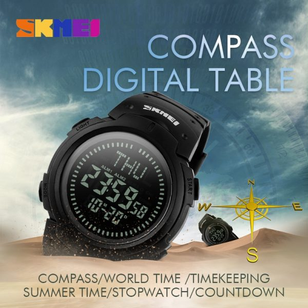 SKMEI Japan Digital movement 50m Waterproof Male Wrist Watch military Compass Stopwatch Chronograph Sport men Watches Clock 1231