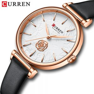 2020 New CURREN Women watch Top Brand Luxury Exquisite 3D Rose Embossed Fashion Watch Lightweight Waterproof Girls Quartz Watch
