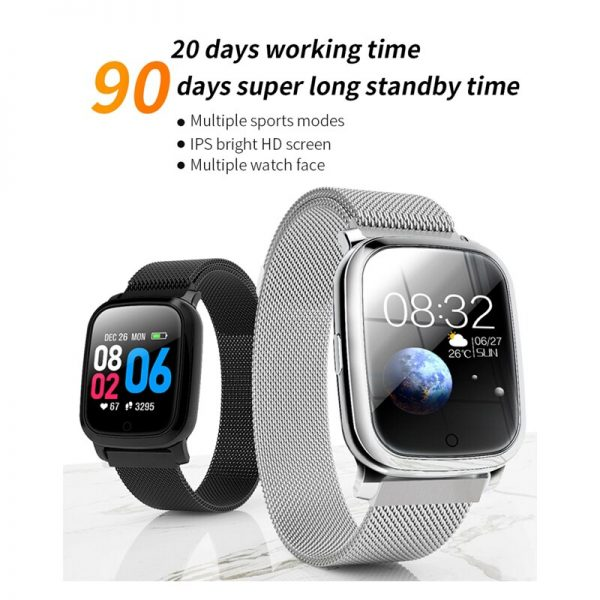 Bluetooth 5.0 Smart Watch IP67 Waterproof Heart Rate Monitor Blood Pressure 1.3 inch 20 Days Battery Life