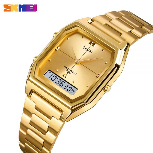SKMEI Luxury Women Golden Quartz Watch 3 Time Ladies Digital Wristwatches Female Clock Relogio Feminino Women's Watches 1612