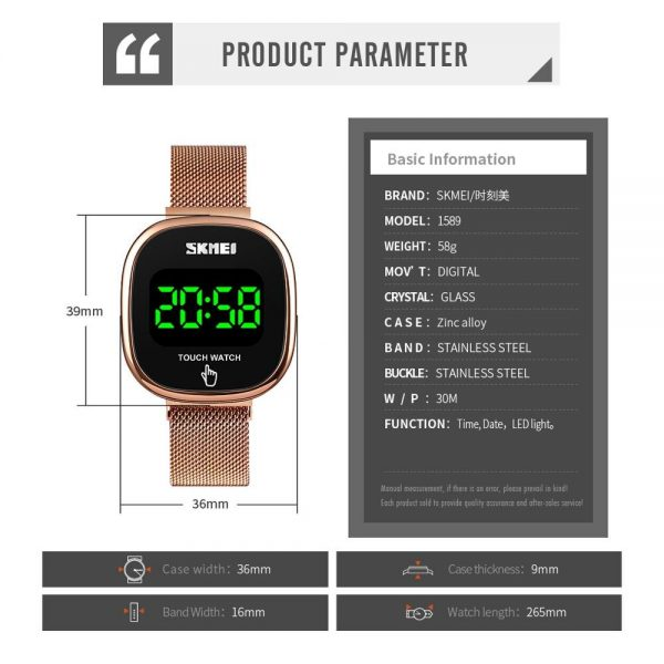 SKMEI Japan movement Digital Men's Watch LED Touch Screen Electronic Male Wrist Watches Waterproof Clock Relogio Masculino 1589
