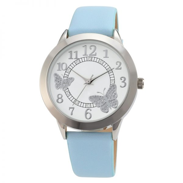 Women Watch Creative Design Butterfly Dial Candy Color Leather Strap for Girls Ladies Gift