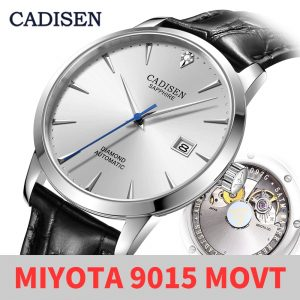 CADISEN Top Brand Men Wristwatch MIYOTA 9015 Mechanical Automatic Watches 50M Waterproof Luxury Diamond Dial Date Calendar