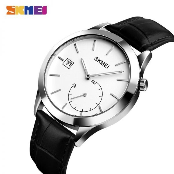 SKMEI Simple Male Wristwatches Date Time Waterproof Men's Watches Top Brand Luxury Leather Quartz Clock Relogio Masculino 1581