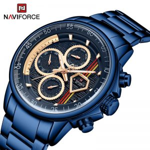 NAVIFORCE Men Sport Waterproof Watches Stainless Steel Fashion Luxury Watch Male Date Clock Quartz Wristwatch Relogio Masculino