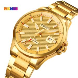 Top Brand SKMEI Luxury Golden Quartz Wrist Watch Business Men Watches Calender Male Clock montre homme Relogio Masculino 1654