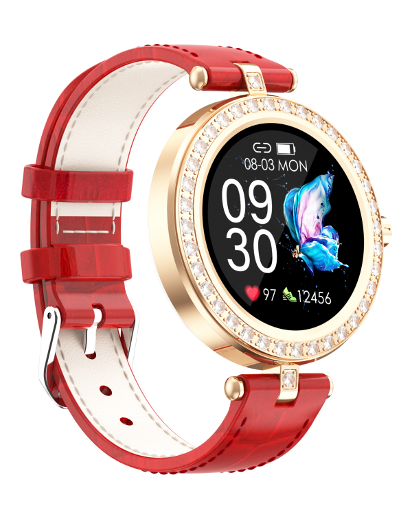 Women Smart Watch Leather Strap Real Time Heart Rate Bluetooth 5.0 Blood Oxygen Pedometer Music Control Sleep Record Calorie